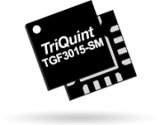 TriQuint's TGM3015-SM, a 3x3mm, plastic QFN packaged GaN transistor offering 10W P3dB.