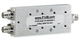 P1PD-SAF-0118G30W-2 is an ultra-broadband, 2-way, SMA power divider operating from 1 to 18GHz from P1dB, Inc.