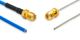 "The P1dB P1CA-SAFPT-034SR-2, 2"" coaxial pigtail cable assembly offers 18GHz performance."