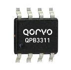 Qorvo QPB3321 DOCSIS 3.1 Compliant Return Path Amplifier operates from 5-210MHz. 17.5dB gain in 8V operation