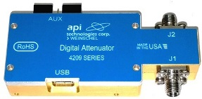 API Weinschel 4209-31.5-1 and 4209-31.5-2 31.5dB digital attenuators span 0.1 to 40GHz