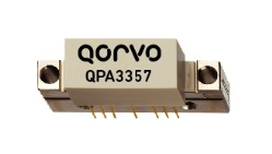 The Qorvo QPA3357 Power Doubler amplifier with >28 dB of flat gain for DOCSIS 3.1 from 47 to 1218 MHz.
