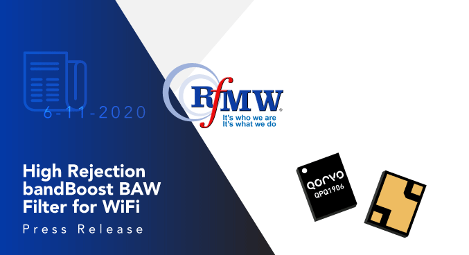 The Qorvo QPQ1906 BAW band-pass filter exhibits low loss in Wi-Fi channels 10-11