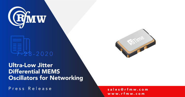 SiTime's ATNA MEMS oscillator SIT9501AC-01-P1-3310-156.250000 operates at 156.25 MHz with 20 ppm stability over -20 to 70 degrees C in a 2.0 x 1.6mm package