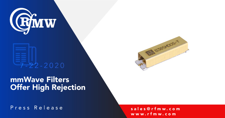 The Knowles (DLI) B385MD0S 38.5 GHz SMD bandpass filter with 3000 MHz pass band offers high rejection