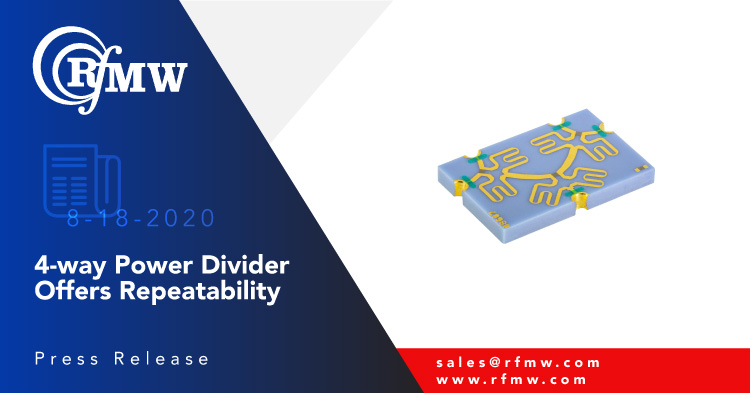 Knowles – DLI 4-way Wilkinson Power Divider PDW08607 operates from 5.3 to 5.9 GHz with 0.7 dB maximum insertion loss