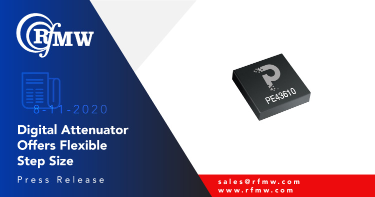 The pSemi PE43610, 9 kHz to 13 GHz digital step attenuator supports 6-bit control using 0.5 or 1 dB steps.