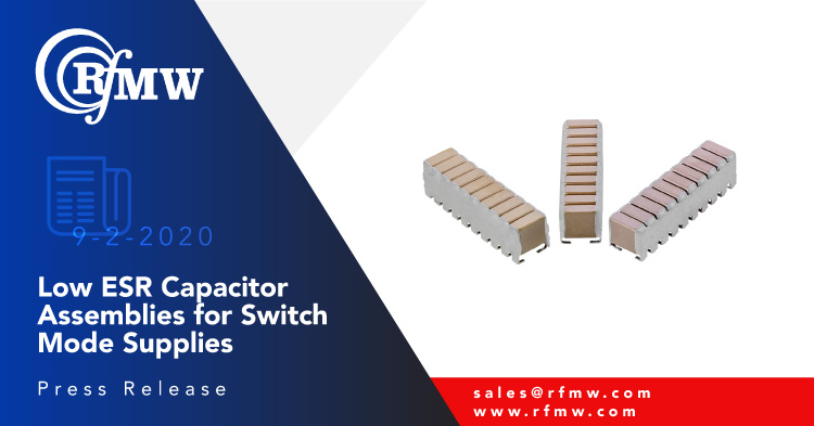Knowles - Novacap SV Series capacitor assemblies with high capacitance-to-volume ratio, low ESR and low ESL