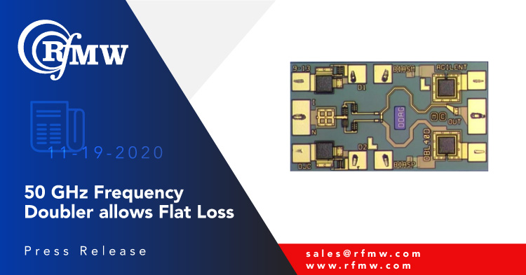 The Keysight HMMC-5645 frequency doubler multiplies input frequencies from 10 to 20 GHz to provide 20 to 40 GHz output frequencies.