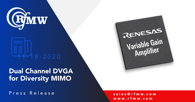 The Renesas F0443, dual DVGA is a highly integrated 0.6 to 2.7 GHz device designed for use in diversity/MIMO receivers.