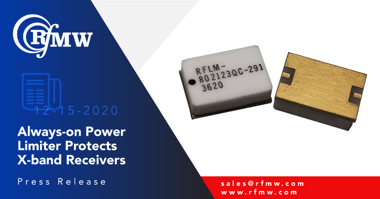 The RFuW Engineering model RFLM-802123QC-291 limiter module offers high power CW and peak power protection for X-band receivers (8.7 to 10.7 GHz).