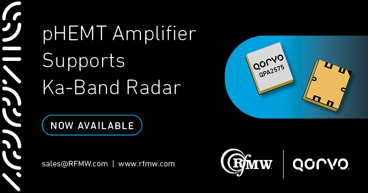 The Qorvo QPA2575 32 to 38 GHz power amplifier offers 3 Watts of saturated power with small signal gain of 19 dB.