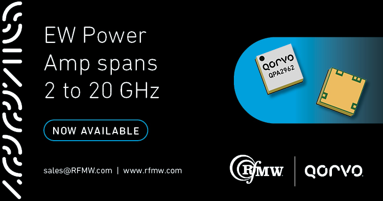 The Qorvo QPA2962 serves radar and EW applications from 2 to 20 GHz delivering 10 Watts of saturated output power with large signal gain of 13 dB.