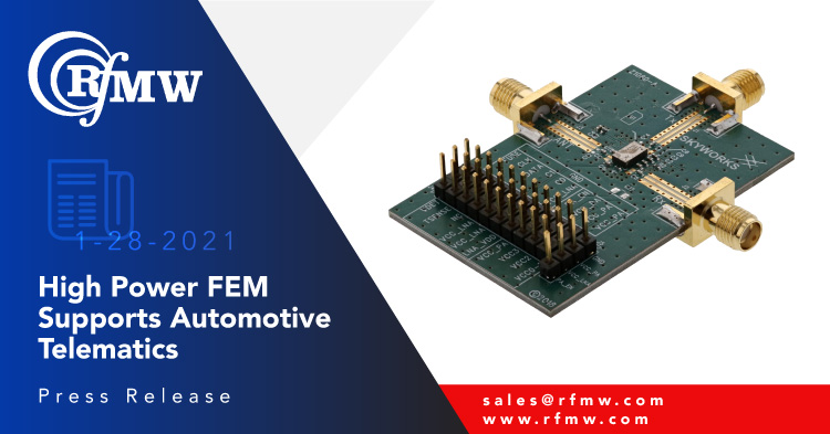 The Skyworks Solutions SKYA21043 AEC-Q104 (Grade 2), 5 GHz FEM incorporates a SPDT, high-gain LNA with bypass, and PA for high-power 802.11p applications and systems.