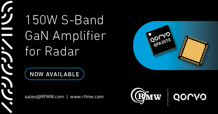 The Qorvo QPA3070 GaN amplifier delivers 150 Watts (52 dBm) of saturated output power with power gain of 28 dB from 2.9 to 3.5 GHz.