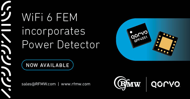 The Qorvo QPF4551 Wi-Fi 6 FEM offers a compact form factor with integrated matching, minimizing wireless access point layout area