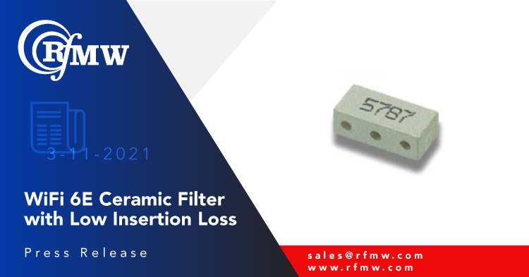 The Sangshin MBP34R6667S1135B, high pass ceramic filter provides 1,135 MHz bandwidth centered at 6,667 MHz