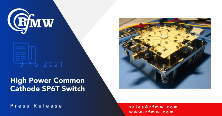 The RFuW Engineering model number MSW6T-6000-600 is a single-pole, six-throw switch capable of handling 200W of CW RF power over the range of 30 to 512 MHz