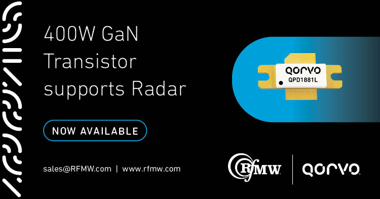 The Qorvo QPD1881L S-Band power transistor offers 400W from 2.7 to 2.9 GHz