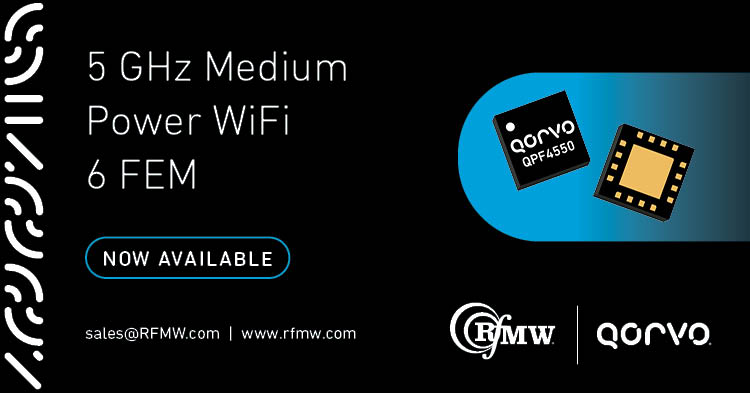 The Qorvo QPF4550 Wi-Fi 6 (802.11ax) front end module (FEM) offers a compact form factor with integrated matching