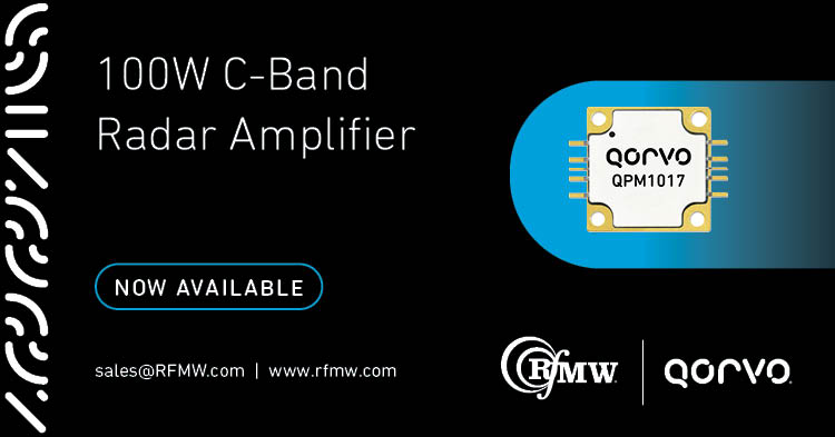 The Qorvo QPM1017 C-Band RF power amplifier offers 100W of pSat RF power from 5.7 to 7 GHz