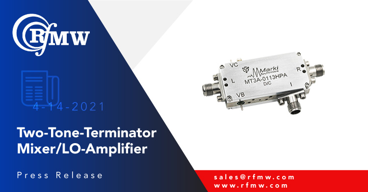 The Marki Microwave, 1 to 13 GHz, MT3A-0113HPA Two-Tone-Terminator mixer integrates a low phase noise LO driver amplifier