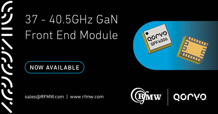 The QPF4006 MMIC mmWave FEM operates from 37.0 to 40.5 GHz with integrated LNA+TR SW+PA.