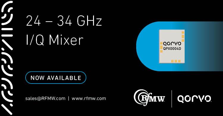 The QPX0004D, 24 to 34 GHz I/Q Mixer can be configured as an image reject mixer, a single sideband upconverter, or a QPSK modulator/demodulator.