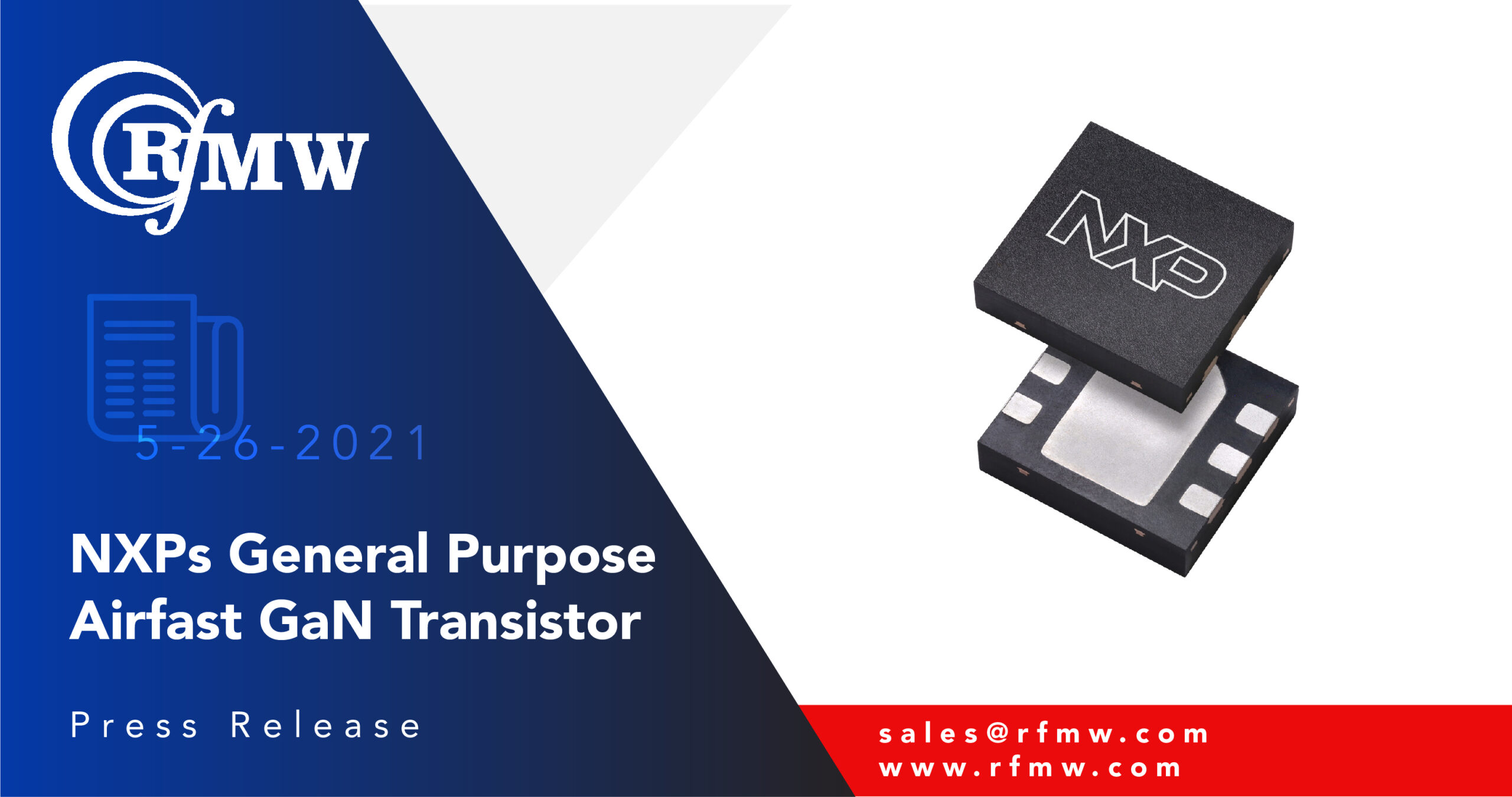 NXP's A3G26D055NT4 GaN on SiC discrete RF transistor delivers 55 Watts of peak power from 100 to 2690 MHz