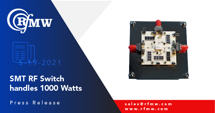 The RFuW Engineering model number MSW2T-2040X-198 is a single-pole, two-throw switch capable of handling 1000 Watts of Peak power over the range of 100 to 2000 MHz