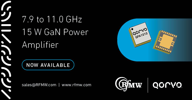 Qorvo's QPA1010, high power MMIC performs well under both CW and pulse operations providing 15 W saturated output power from 7.9 to 11.0 GHz.