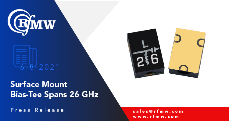 The Marki Microwave BTL-0026SMG-2 bias-tee operates resonance-free from 500 kHz to 26 GHz.