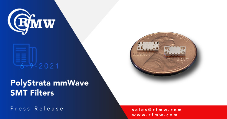 The Cubic Nuvotronics PSF26B04V2S, surface mount, mmWave, interdigital filter has a pass band of 24.0 to 28.0 GHz