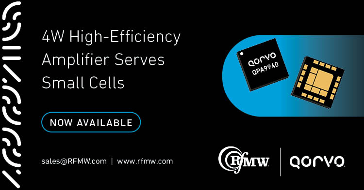 The Qorvo QPA9940 high efficiency power amplifier supports small cells operating in the 2300 to 2400 MHz frequency range