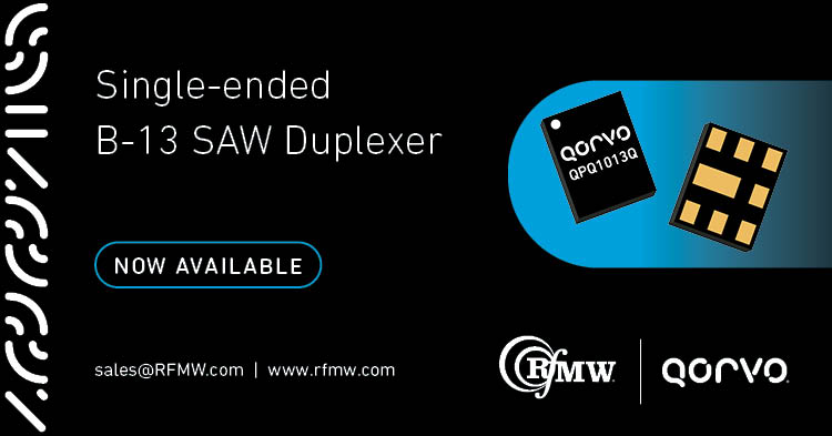 The Qorvo QPQ1013Q SAW duplexer meets the strict Band 13 NS07 rejection requirements