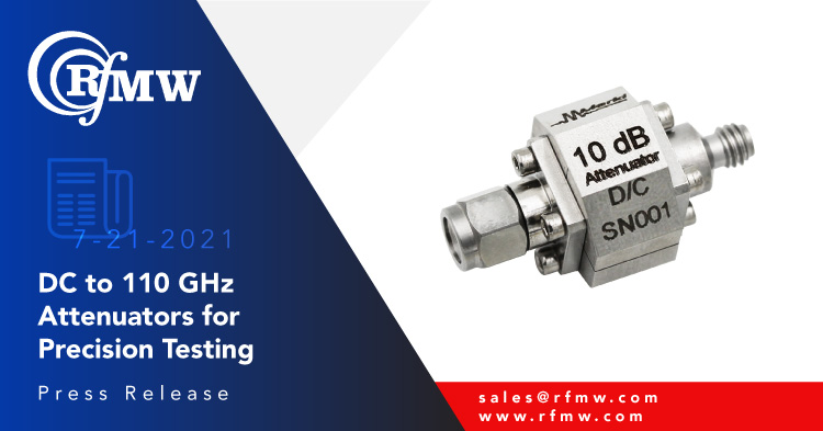 Marki Microwave ATN10-00110-2W 1mm coaxial attenuator provides 10 dB attenuation to 110 GHz