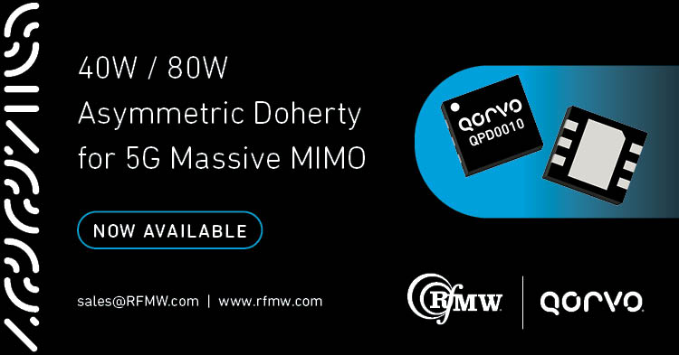 Qorvo's QPD0010 asymmetric, dual-path, discrete GaN on SiC HEMT delivers 40W / 80W from 2.5 to 2.7 GHz