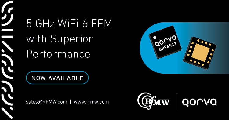 The Qorvo QPF4532 Wi-Fi 6 (802.11ax) front end module offers a compact form factor with integrated matching