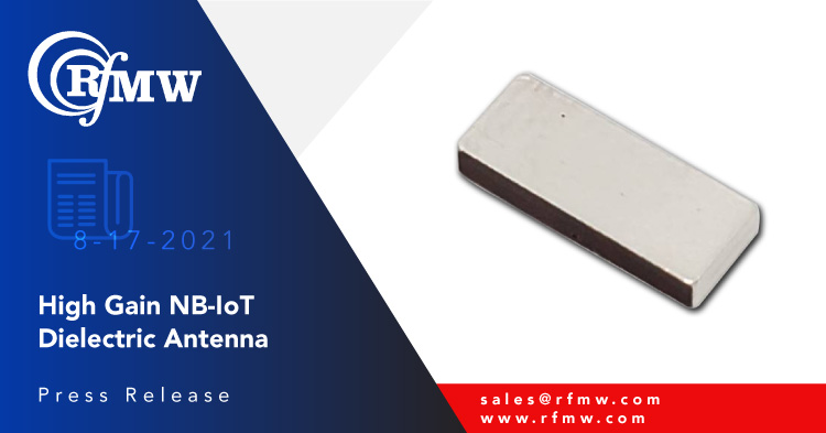 The DCA90S00 NB-IoT ceramic antenna is designed for applications operating across the 750 to 960 MHz frequency range.