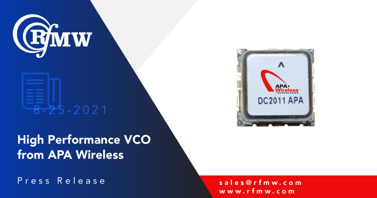 The APA Wireless R1424SMUAM12_135 VCO delivers -95 dBc/Hz typical phase noise at 10 KHz offset over its operating range of 1400 to 2400 MHz