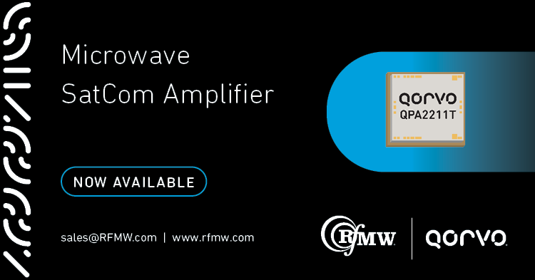 The Qorvo QPA2211T GaN power amplifier supports satellite communications and 5G infrastructure in the 27.5 to 31 GHz frequency range