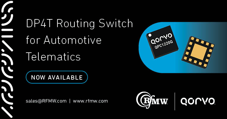 The Qorvo QPC1220Q is a double-pole, four-throw (DP4T) switch designed for automotive transfer routing applications from 617 to 6000 MHz