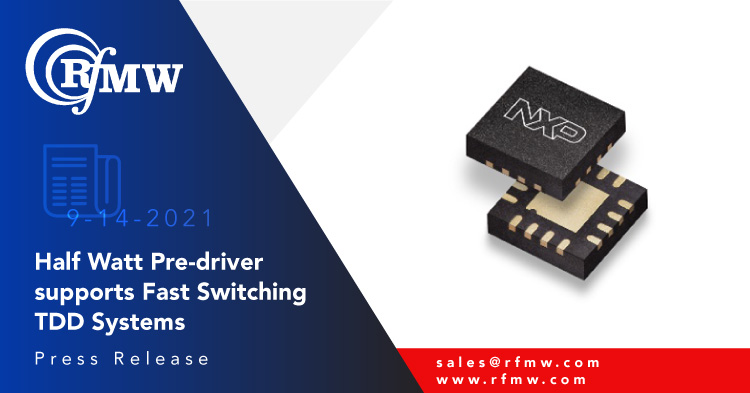 The NXP BTS6201U SiGe driver amplifier delivers high linearity with 27 dBm typical P1dB output power in its frequency range of 2300 to 4200 MHz.